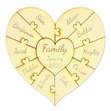 10 Names Family Heart Puzzle 20cm in 3mm thick Ply or MDF fits 3D Ribba Frame